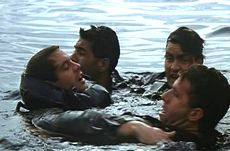 Navy SEALS 10: James Curran (Michael Biehn), Lt. JG Dale Hawkins (Charlie Sheen), Sgt Rick Leary (Rick Rossovitch) and Ramos (Paul Sanchez)